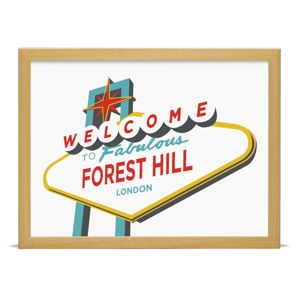 Place in Print Welcome to Fabulous Forest Hill Vegas Sign Art Print Wood Frame