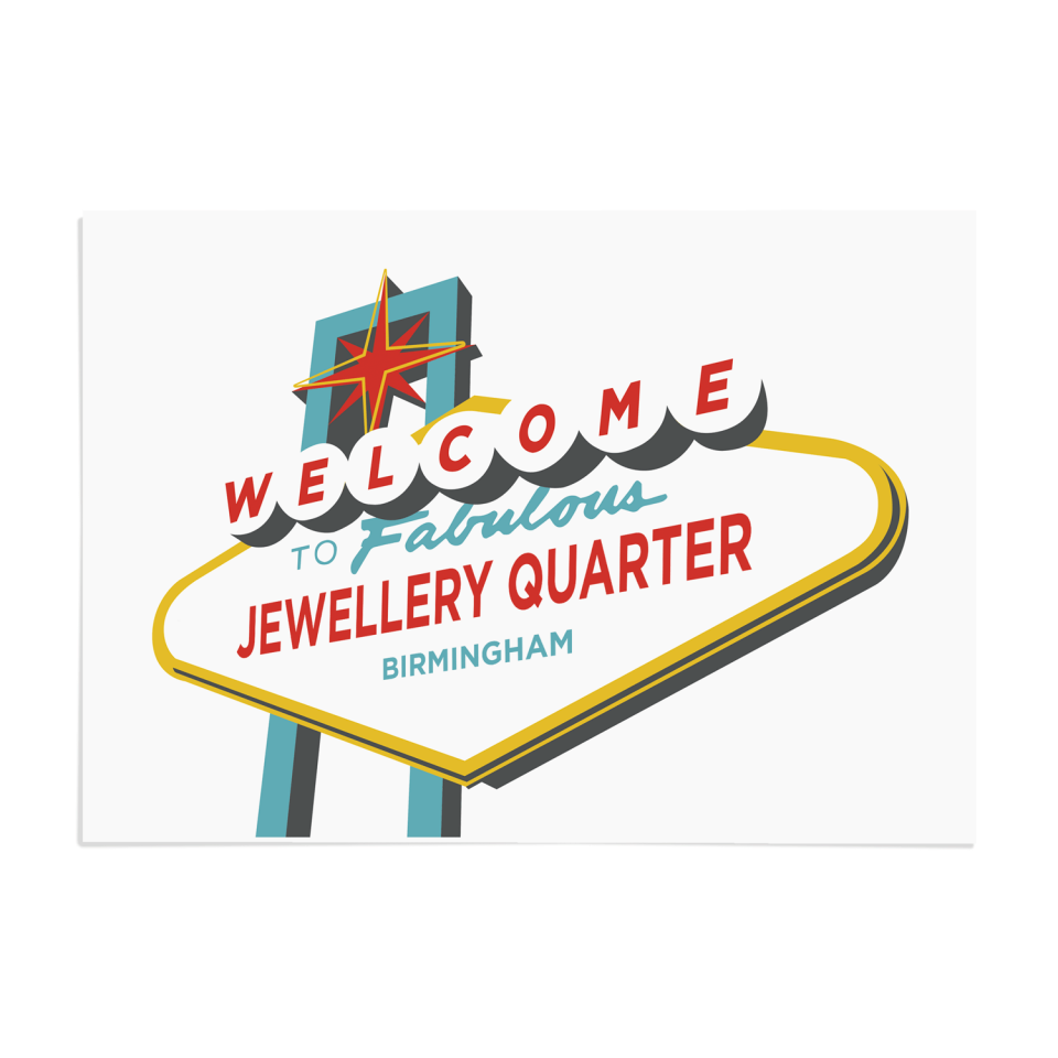 Place in Print Welcome to Jewellery Quarter Birmingham Vegas Sign Art Print Unframed