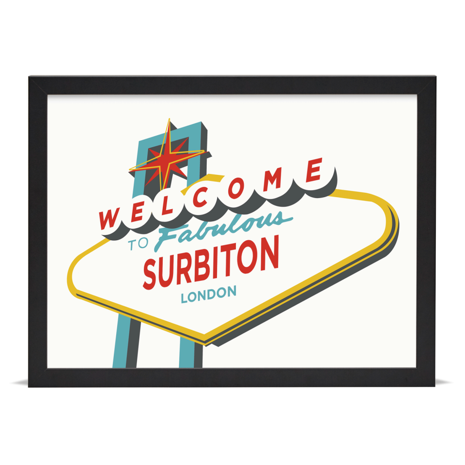 Place in Print Welcome to Surbiton London Vegas Sign Art Print Black Frame
