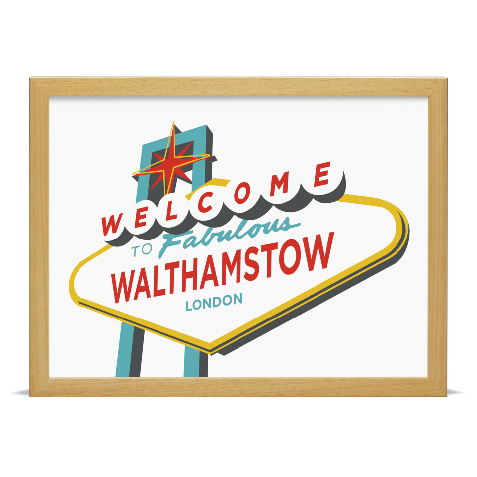 Place in Print Welcome to Walthamstow London Vegas Sign Art Print Wood Frame