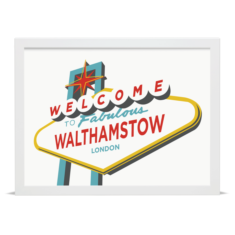 Place in Print Welcome to Walthamstow London Vegas Sign Art Print White Frame