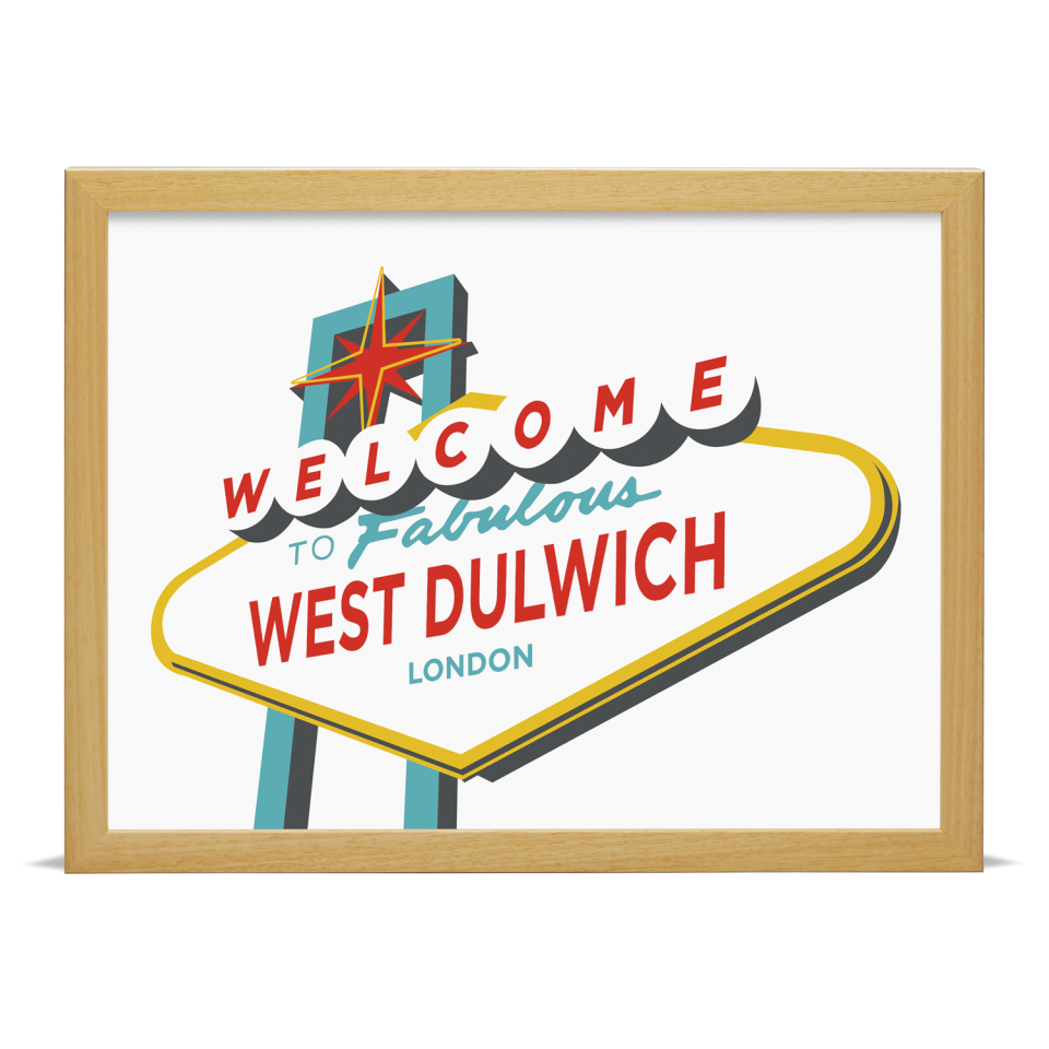 Place in Print Welcome to West Dulwich Vegas Sign Art Print Wood Frame