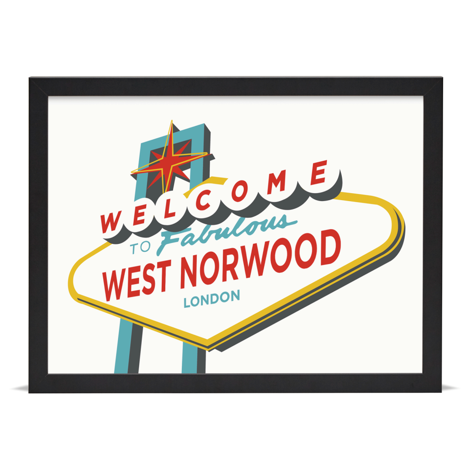 Place in Print Welcome to West Norwood Vegas Sign Art Print Black Frame