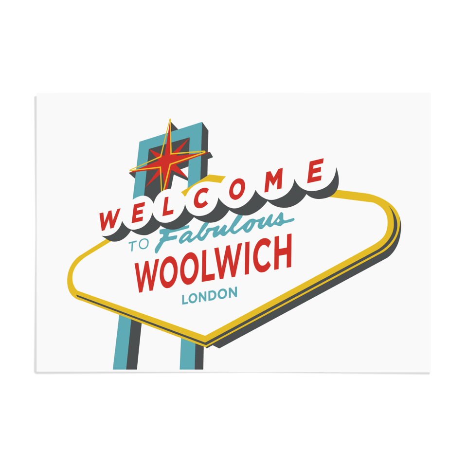 Place in Print Welcome to Woolwich Vegas Sign Art Print Unframed