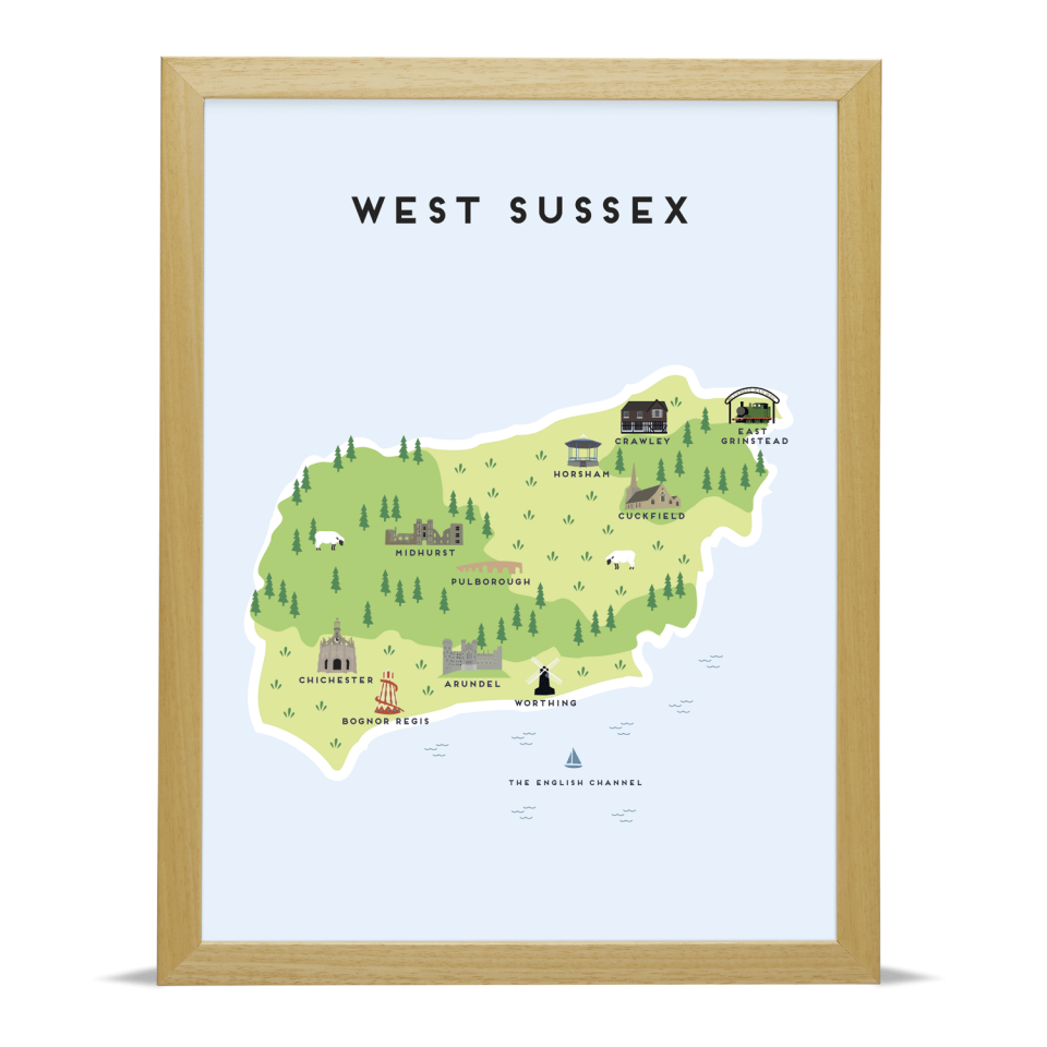 Place in Print Pepper Pot Studios West Sussex Illustrated Map Art Print Wood Frame