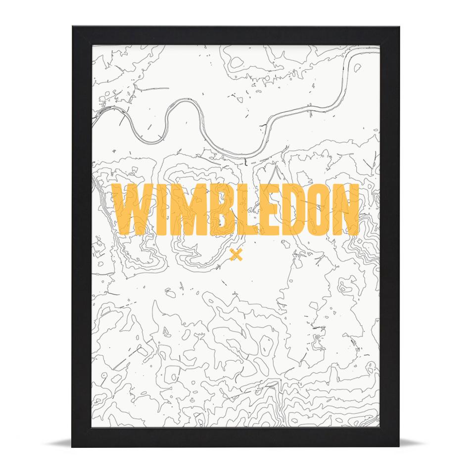 Place in Print Wimbledon Contours Gold Art Print Black Frame