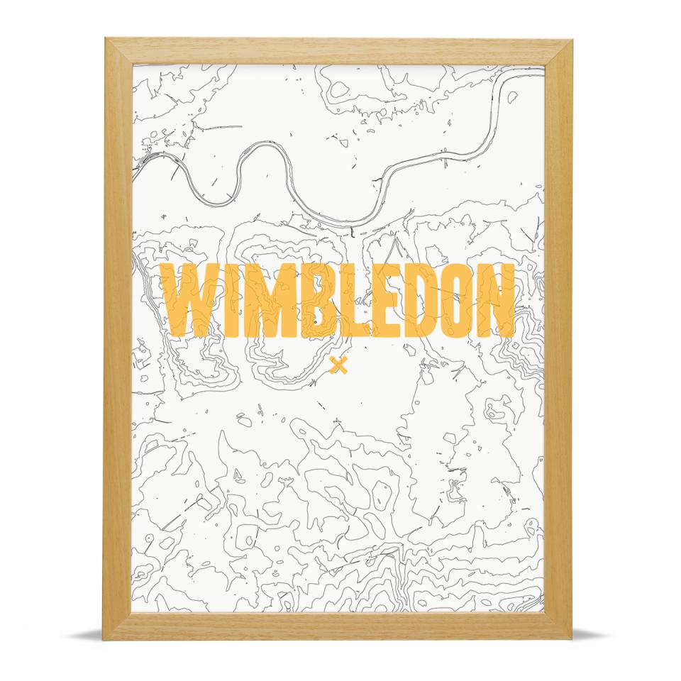 Place in Print Wimbledon Contours Gold Art Print Wood Frame