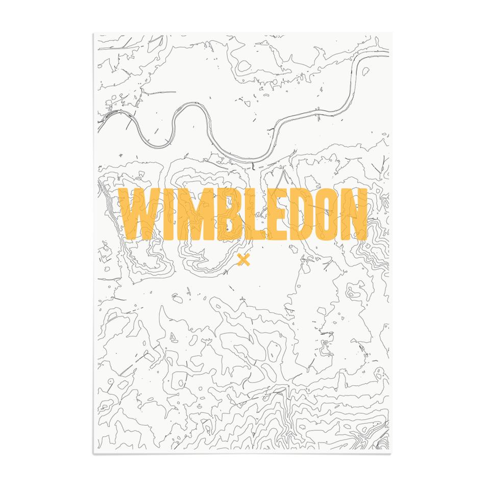 Place in Print Wimbledon Contours Gold Art Print Unframed