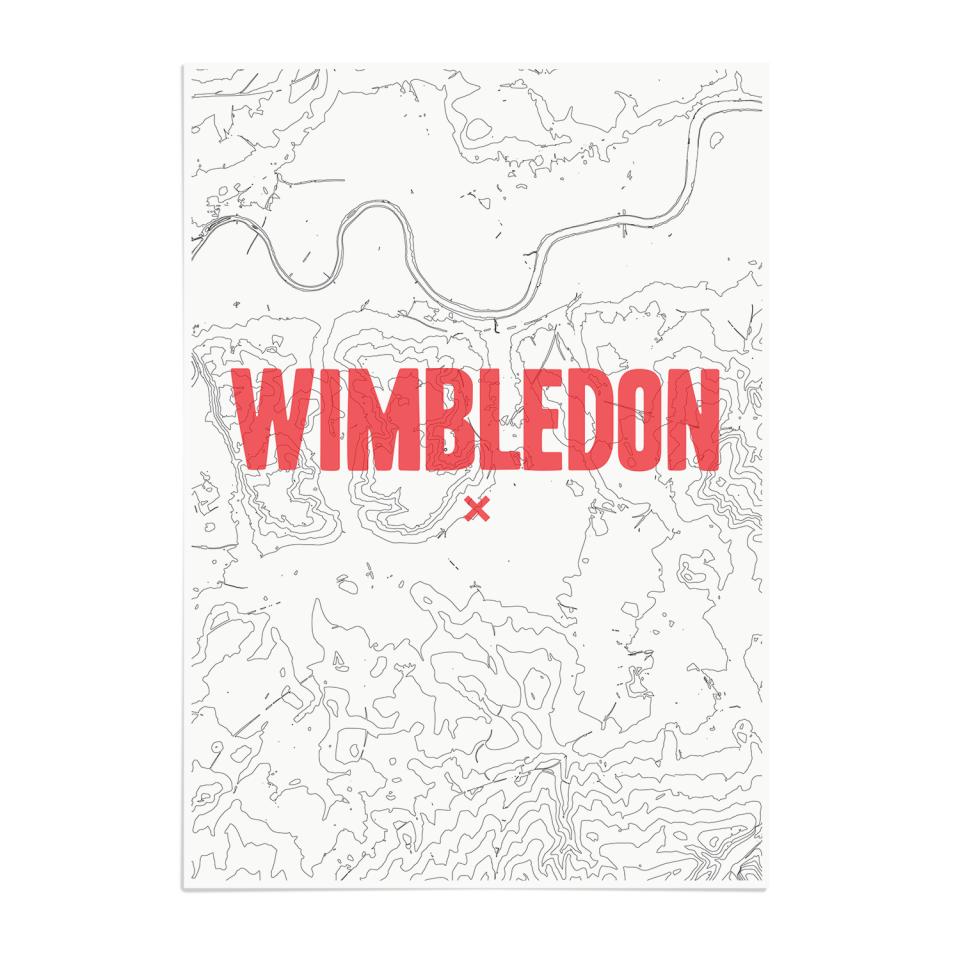 Place in Print Wimbledon Contours Red Art Print Unframed