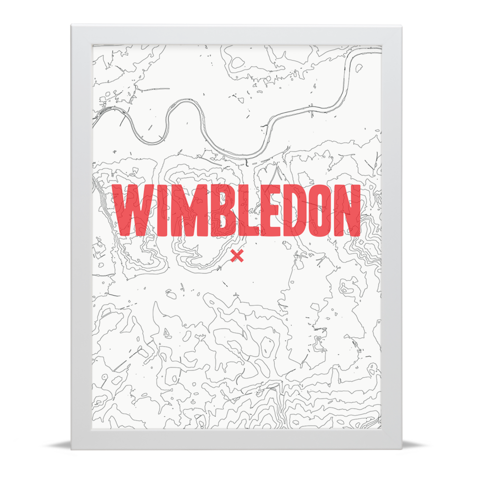 Place in Print Wimbledon Contours Red Art Print White Frame