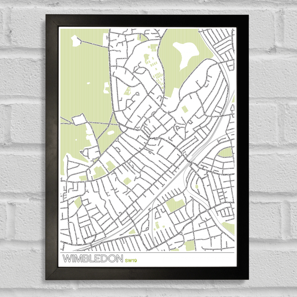 Place in Print Wimbledon SW19 Typographic Map Art Poster Print Black Frame