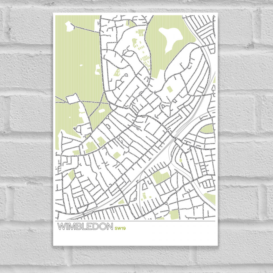 Place in Print Wimbledon SW19 Typographic Map Art Poster Print Unframed