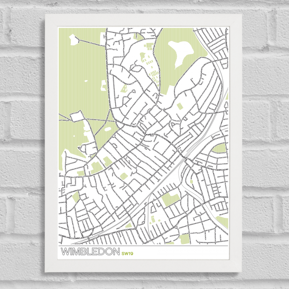 Place in Print Wimbledon SW19 Typographic Map Art Poster Print White Frame