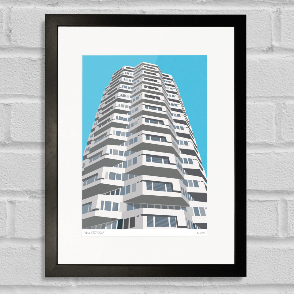 Place in Print No1 Croydon Art Poster Print Black Frame