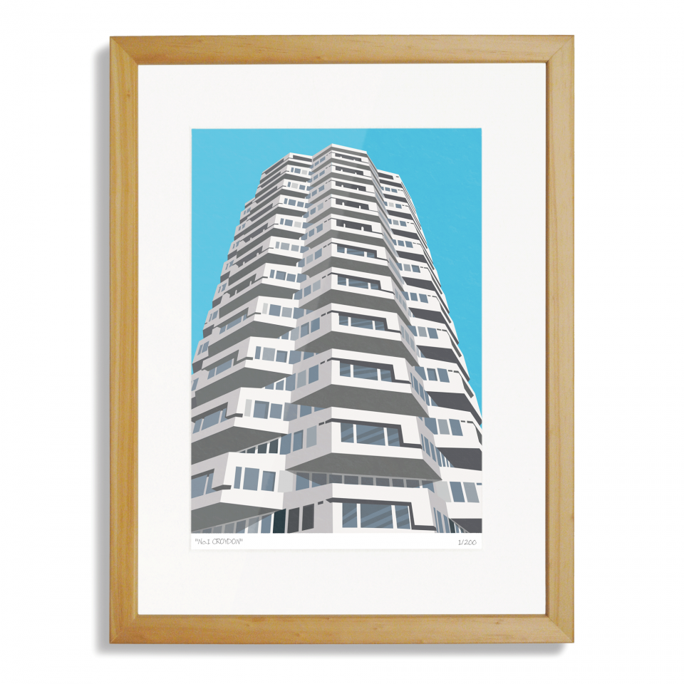 Place in Print No1 Croydon Art Poster Print Wood Frame