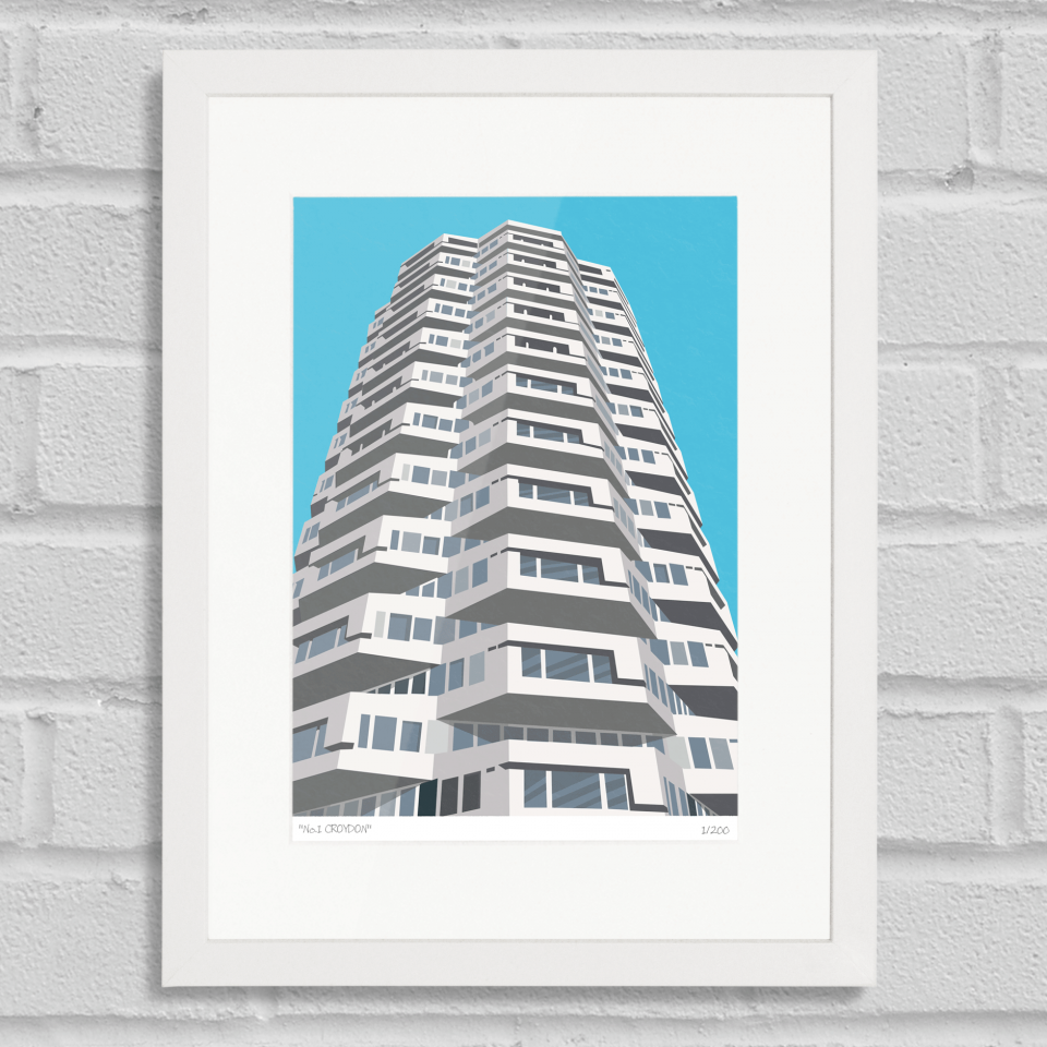 Place in Print No1 Croydon Art Poster Print White Frame
