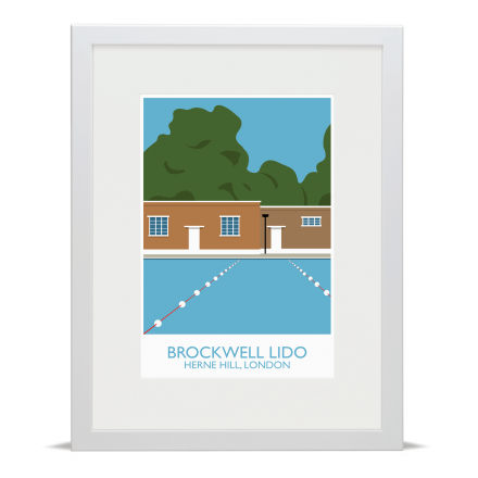 Brockwell Lido Landmark Art Poster Print