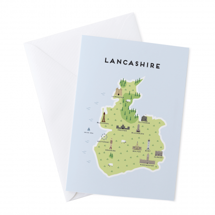 Place in Print Pepper Pot Studios Lancashire Illustrated Map Greetings Card