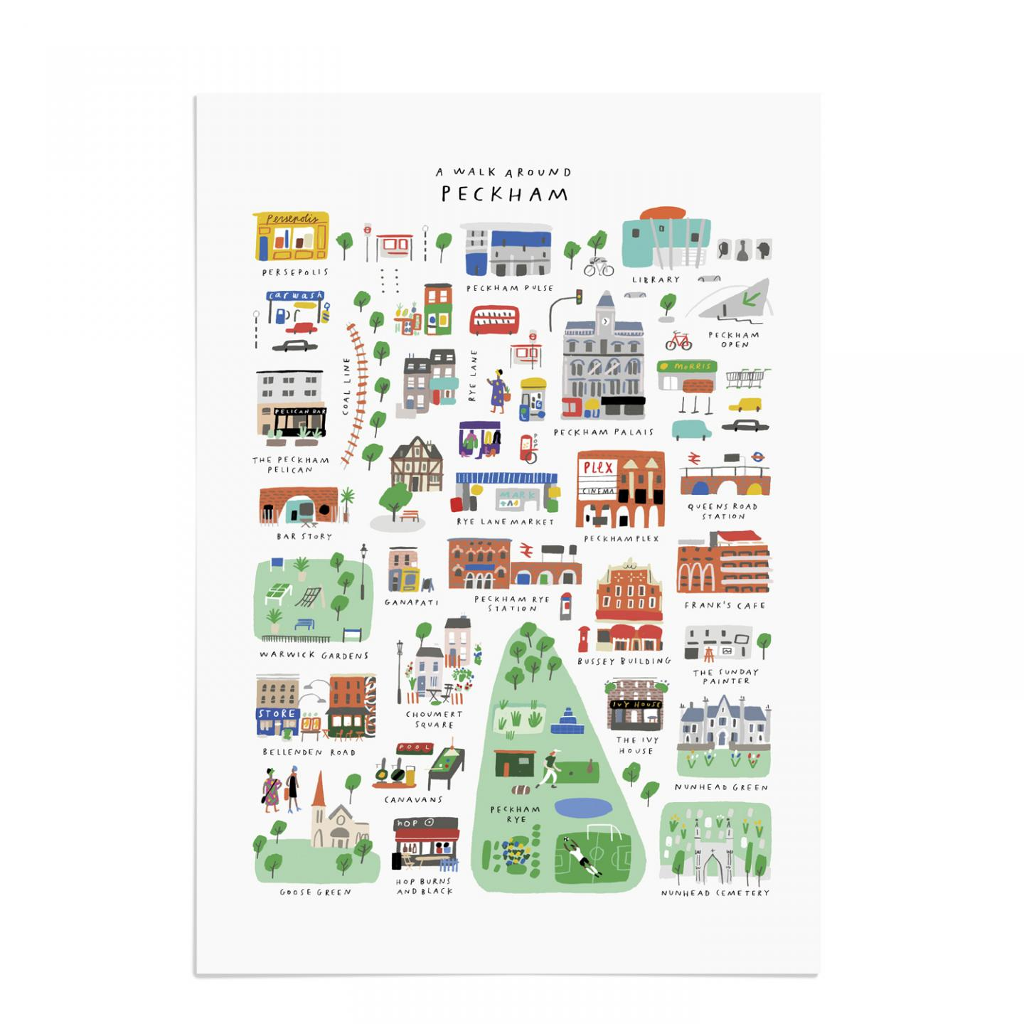Place in Print Mercedes Leon Walk Around Peckham Art Print Unframed