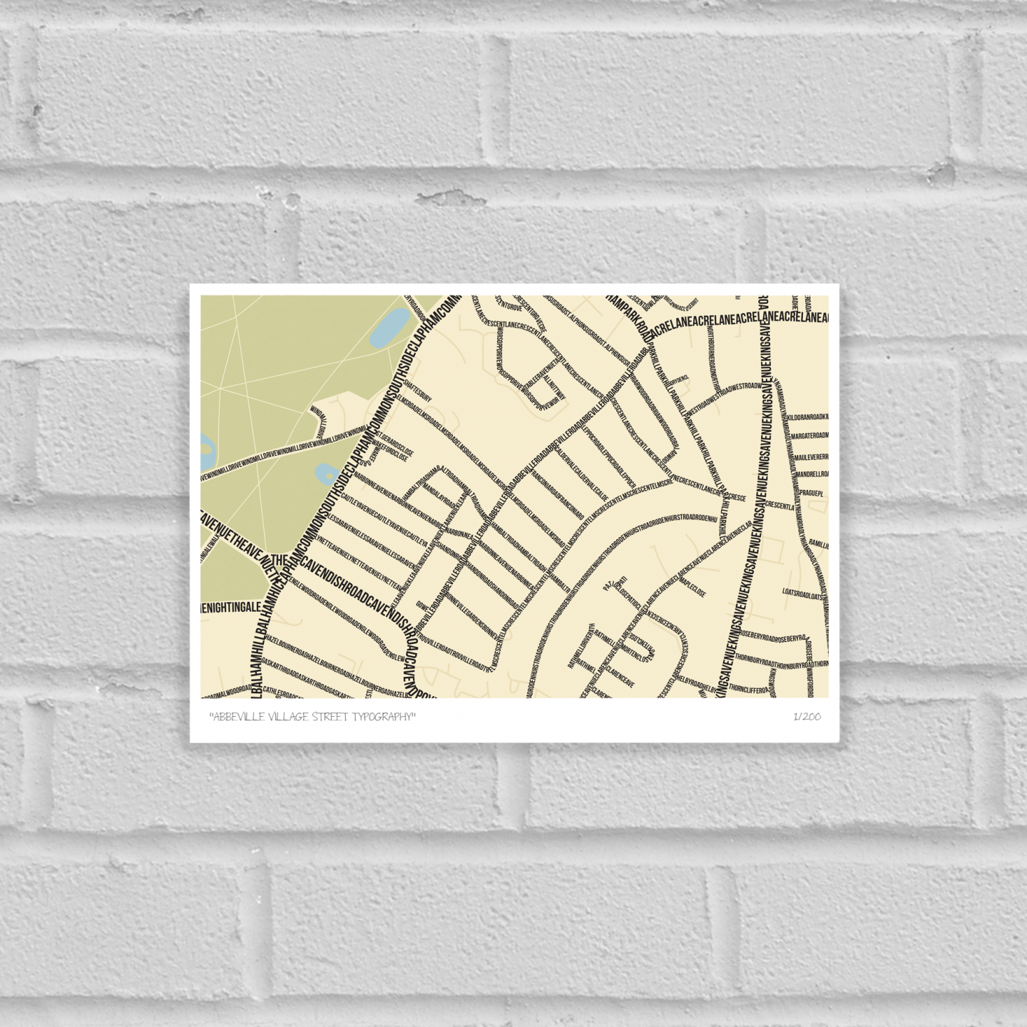 Abbeville Village Street Typography Map Art Poster Print Unframed