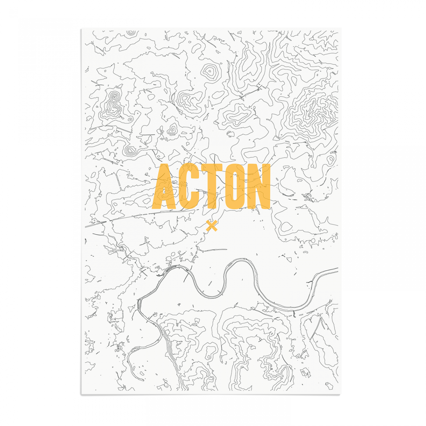 Place in Print Acton Contours Gold Art Print Unframed
