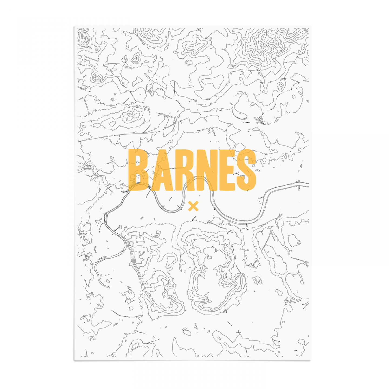 Place in Print Barnes Contour Map Art Print Unframed