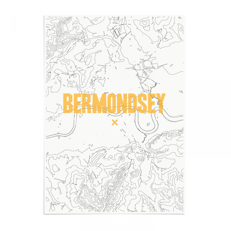 Place in Print Bermondsey Contours Gold Art Print Unframed