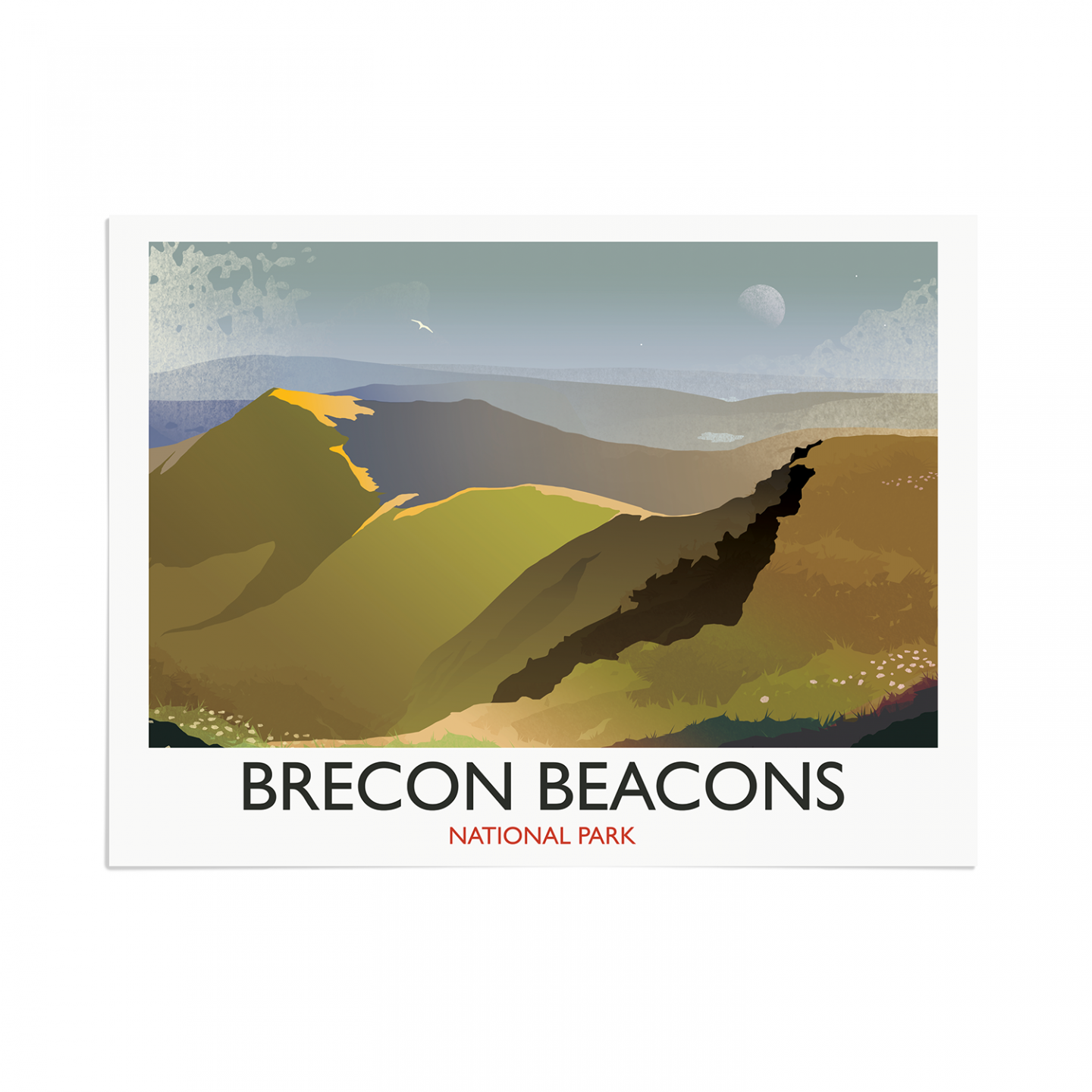 Place in Print Rick Smith Brecon Beacons Travel Poster Art Print 30x40cm Print-only