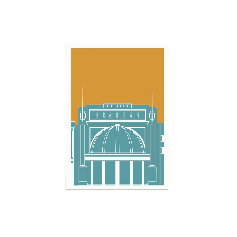Brixton Academy Blueprint Blue Gold Unframed