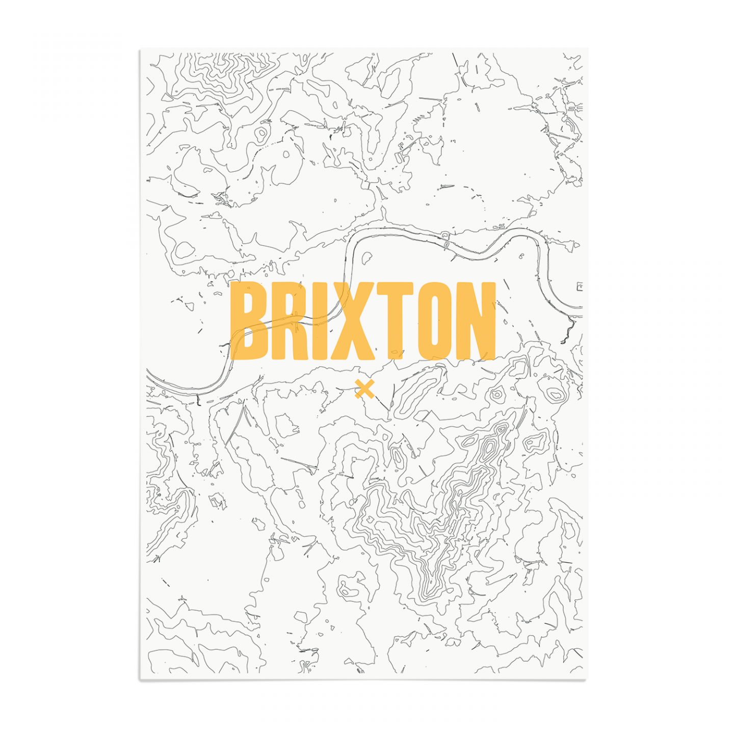 Place in Print Brixton Contours Gold Art Print Unframed