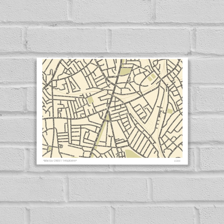 Brixton Street Typography Map Art Poster Print Unframed