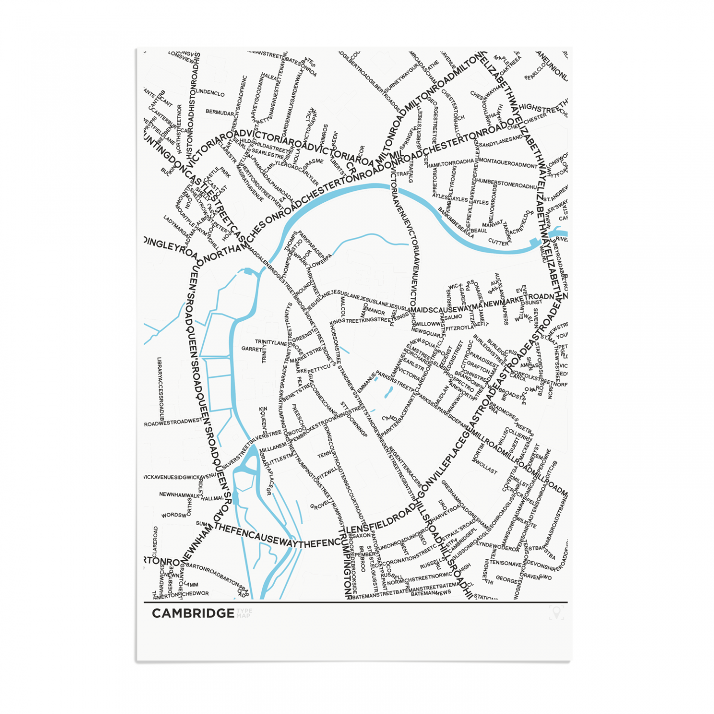 Place in Print Cambridge Type Typography Map Art Print Unframed