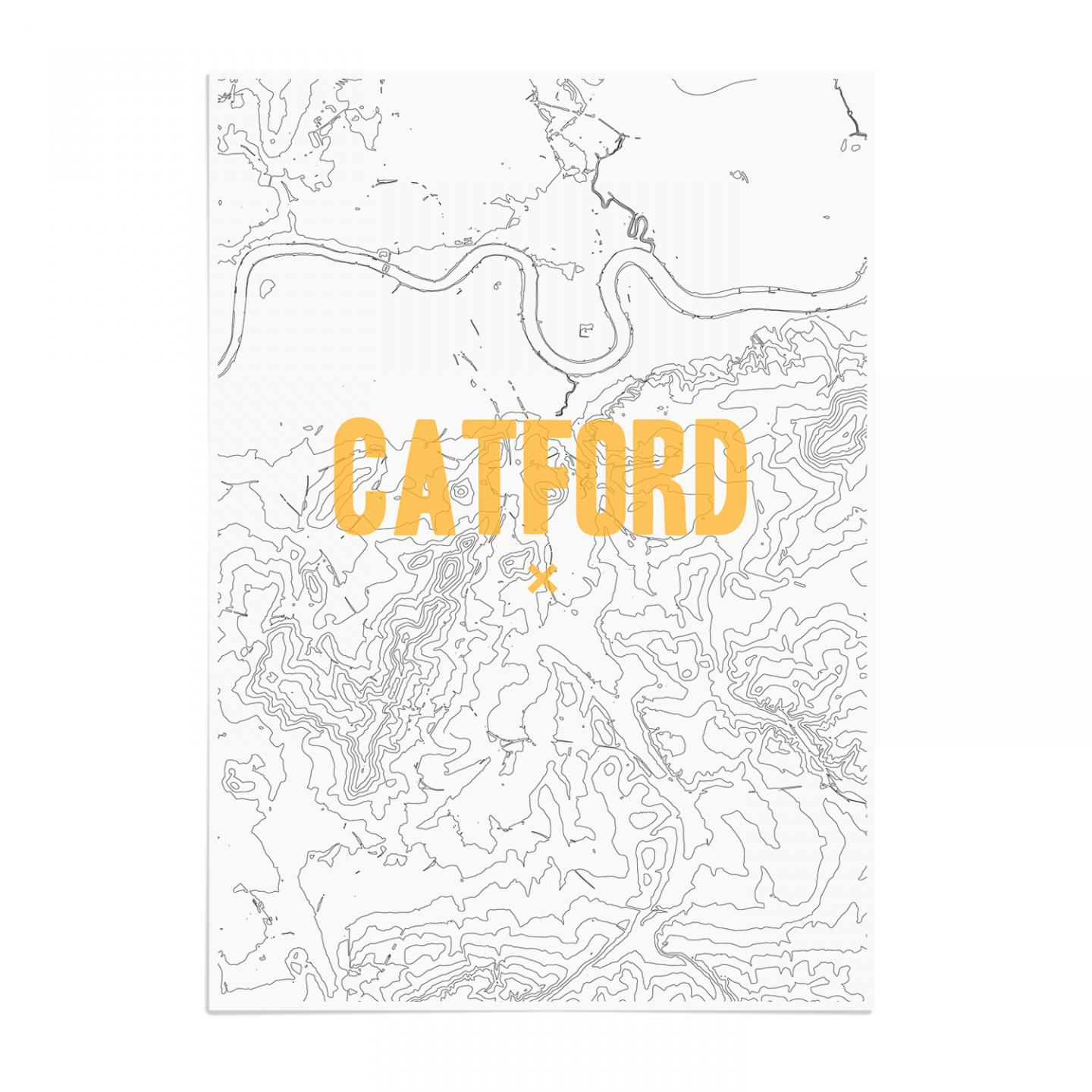 Place in Print Catford Contours Gold Art Print Unframed