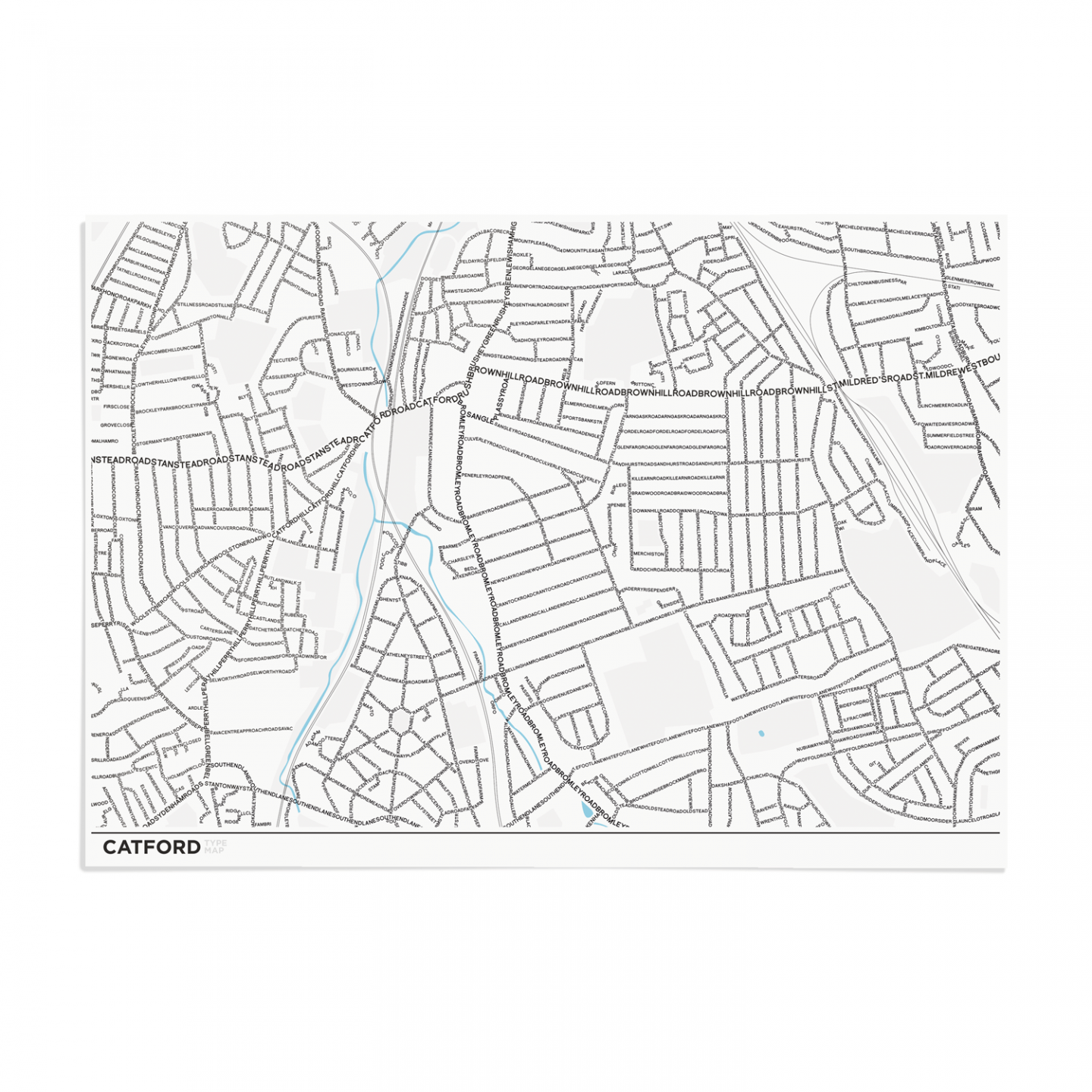Place in Print Catford Type Map Typography Art Poster Print A3 Unframed