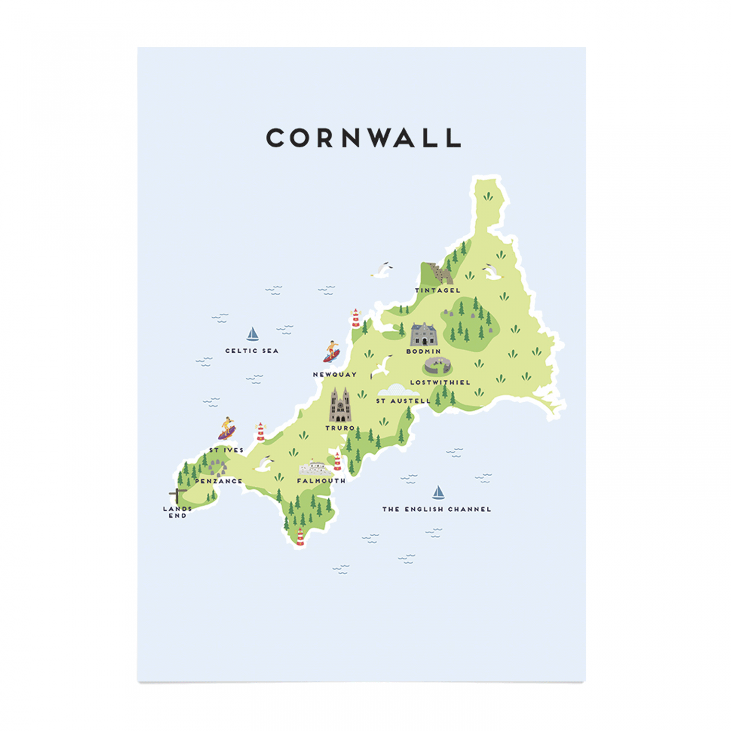 Place in Print Pepper Pot Studios Cornwall Illustrated Map Art Print Unframed
