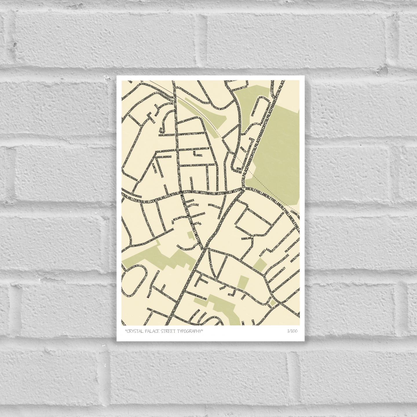 Crystal Palace Street Typography Map Art Poster Print Unframed