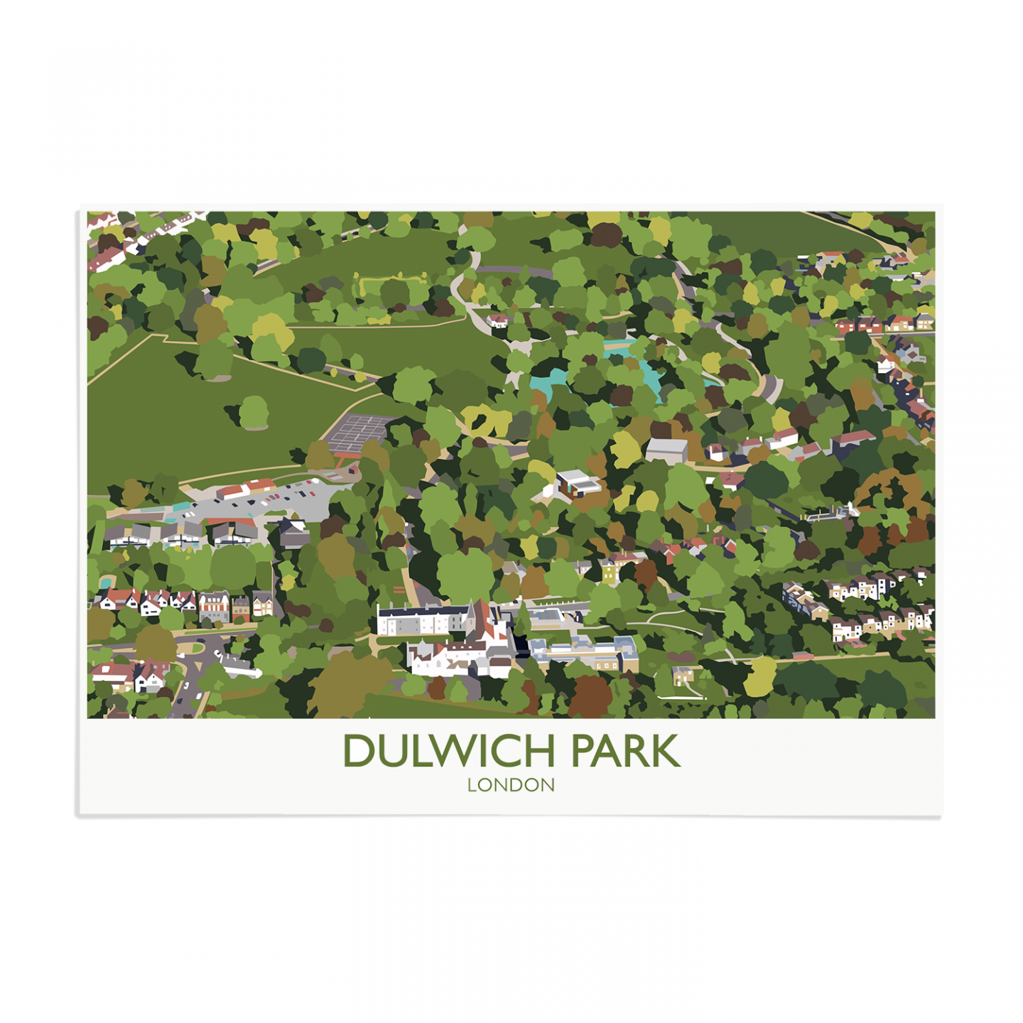 Place in Print Dulwich Park Aerial View Art Print Unframed