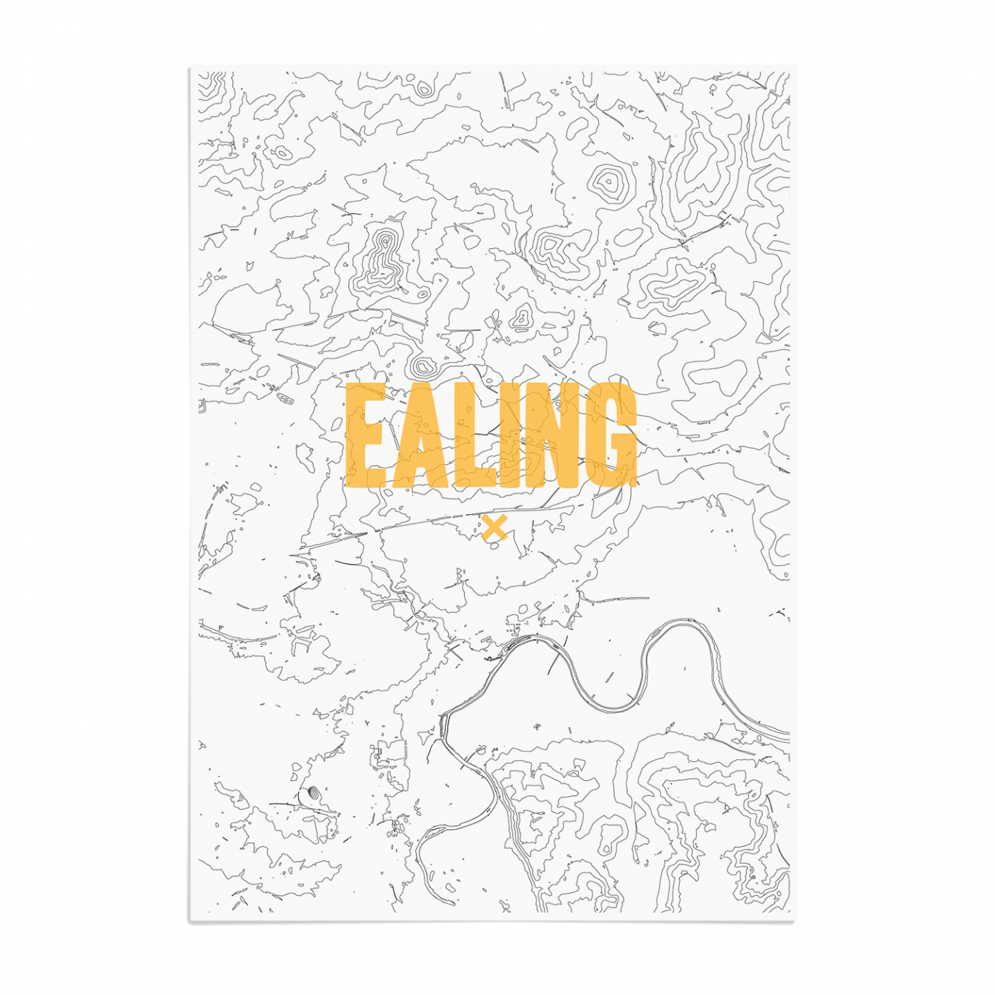 Place in Print Ealing Contours Gold Art Print Unframed