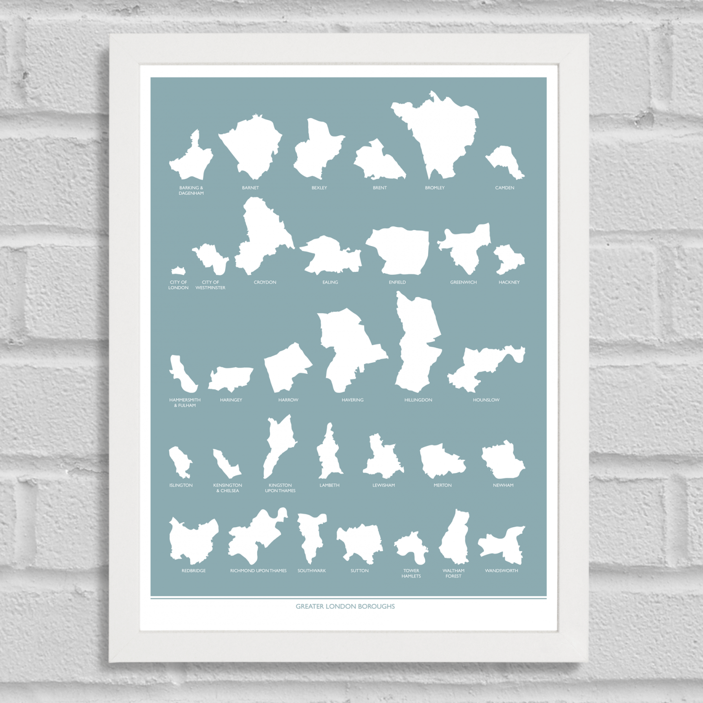 Place in Print Greater London Boroughs Blue Art Print White Frame