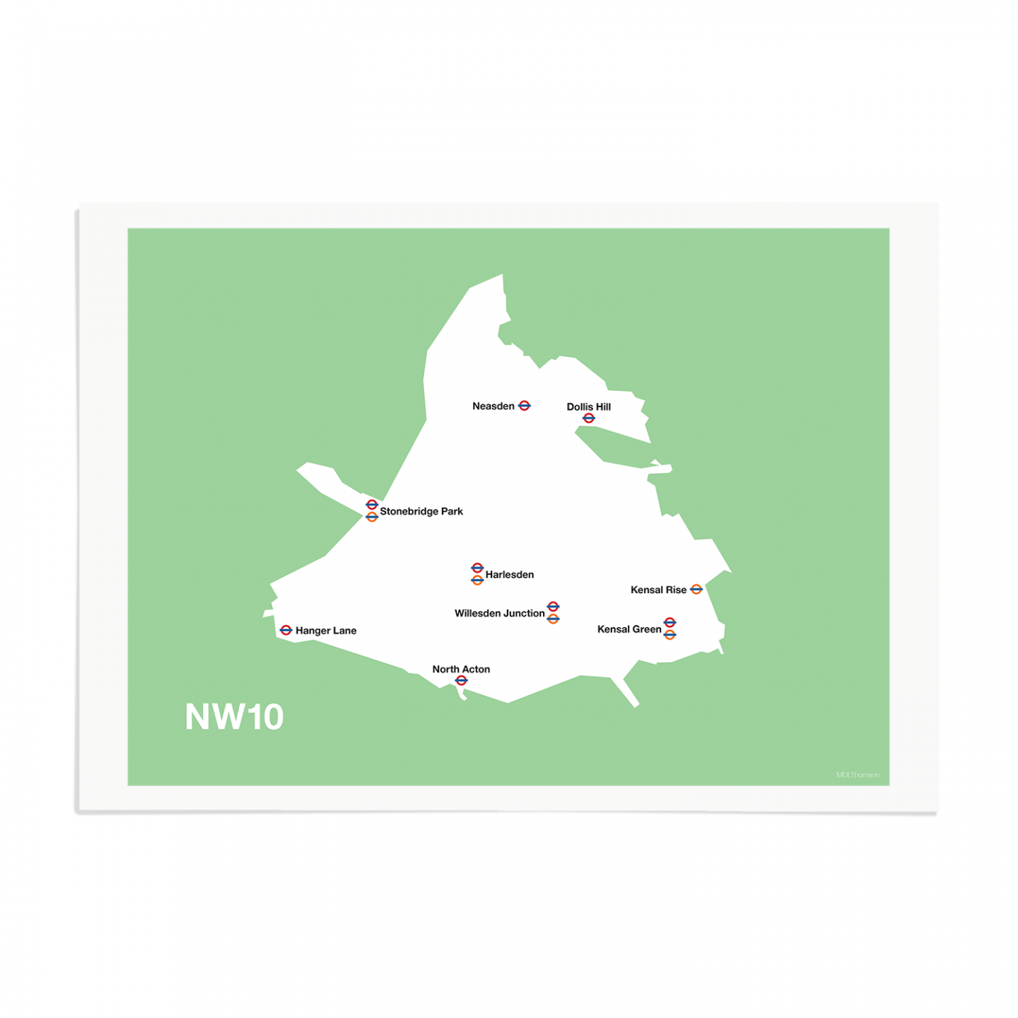 Place in Print MDL Thomson NW10 Postcode Map Green Art Print Unframed