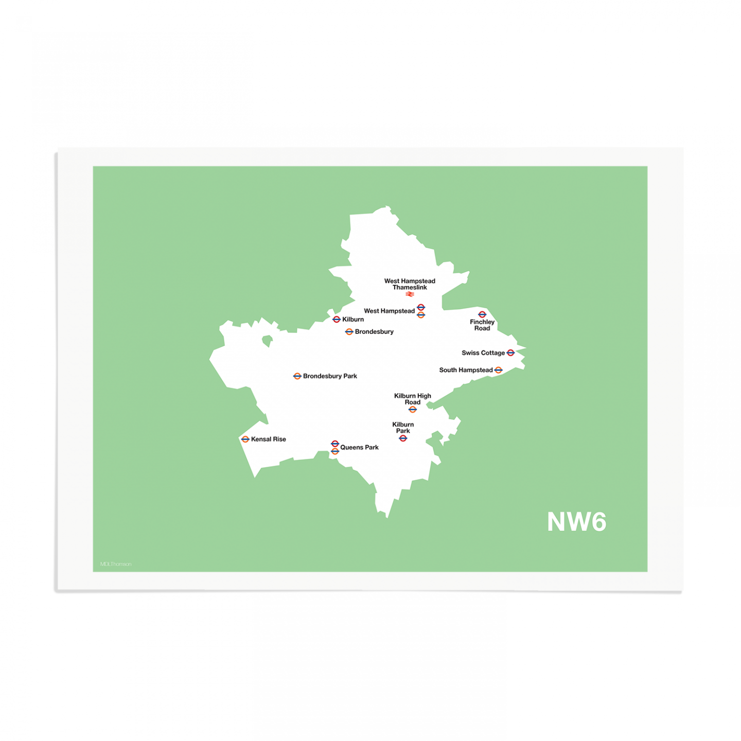 Place in Print MDL Thomson NW6 Postcode Map Green Art Print Unframed