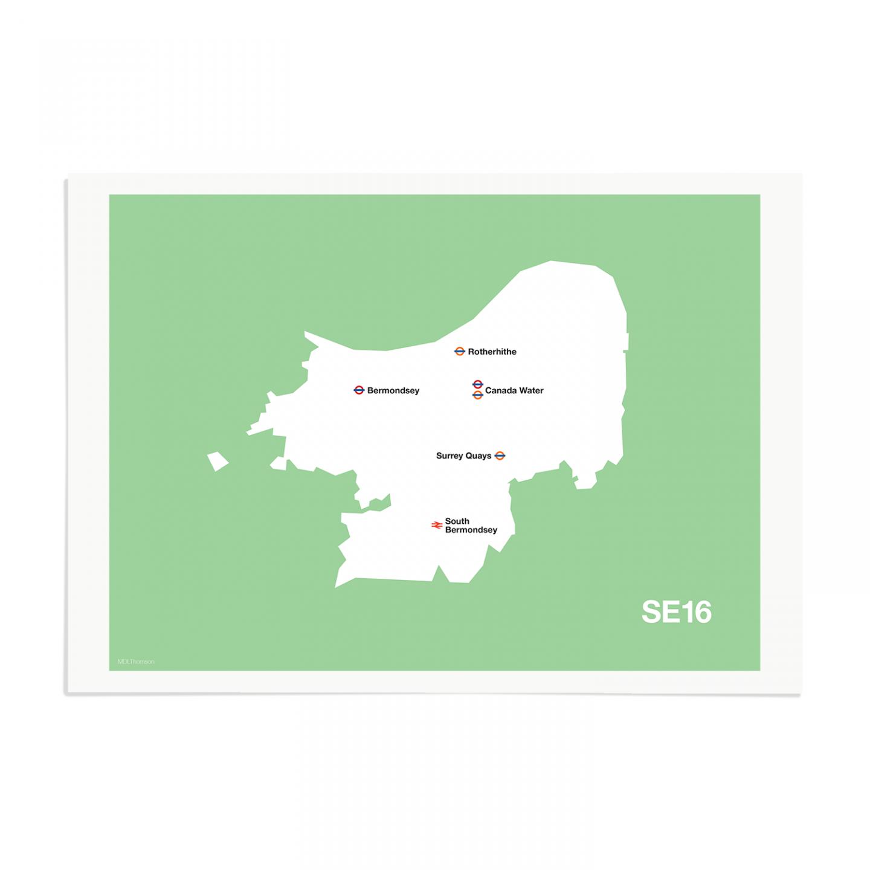 Place in Print MDL Thomson SE16 Postcode Map Green Art Print Unframed