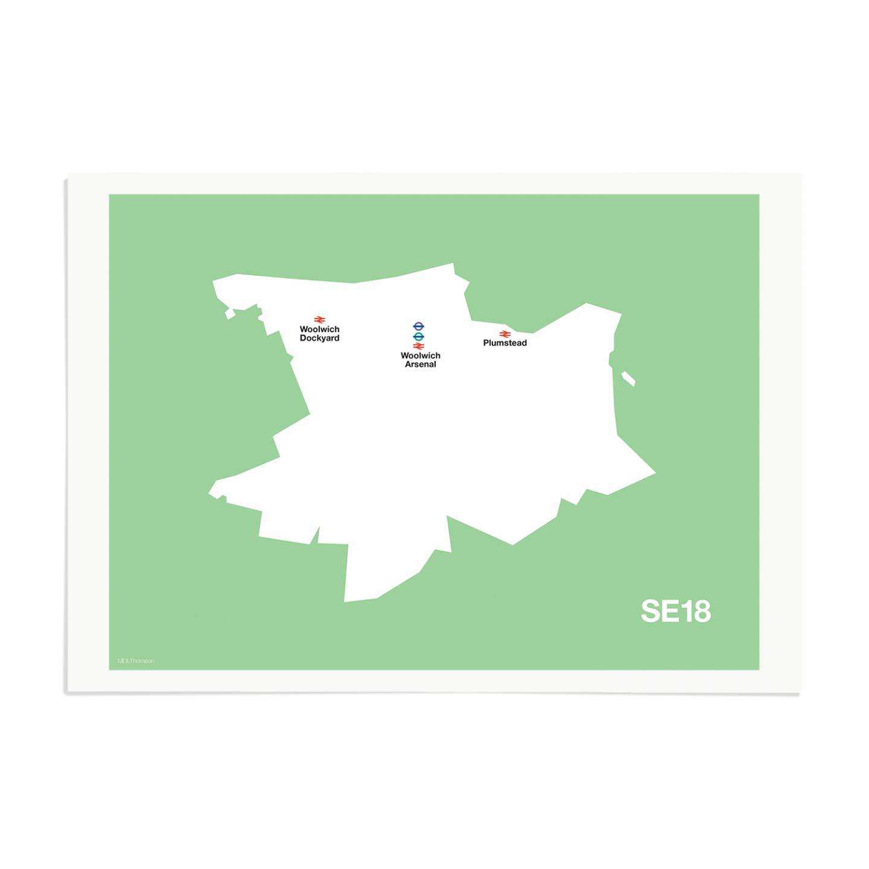 Place in Print MDL Thomson SE18 Postcode Map Green Art Print Unframed