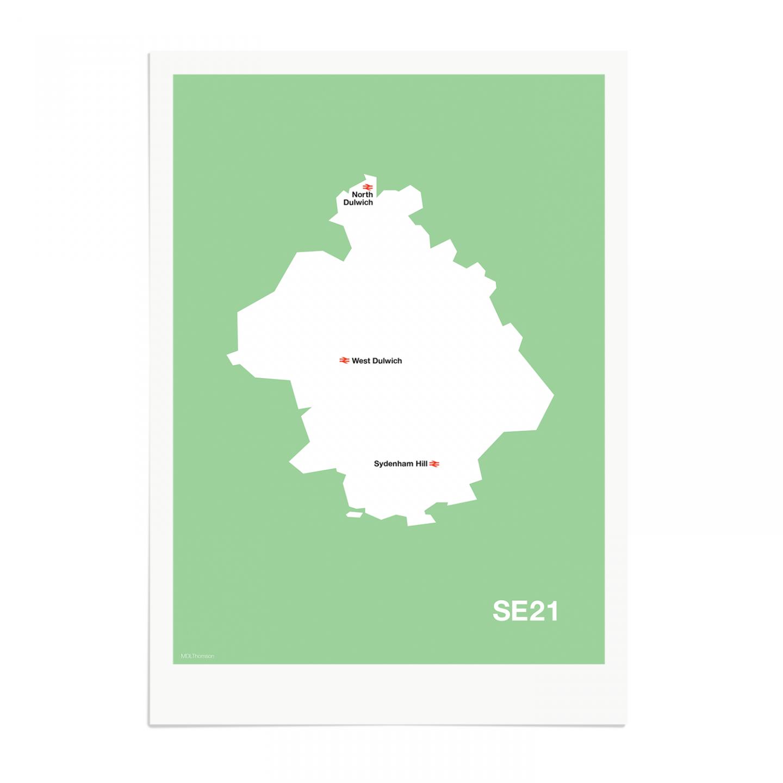 Place in Print MDL Thomson SE21 Postcode Map Green Art Print Unframed