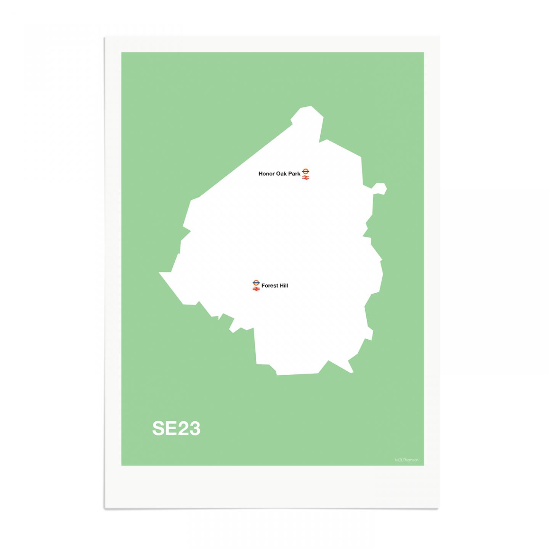 Place in Print MDL Thomson SE23 Postcode Map Green Art Print Unframed