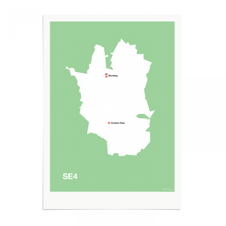 Place in Print MDL Thomson SE4 Postcode Map Green Art Print Unframed