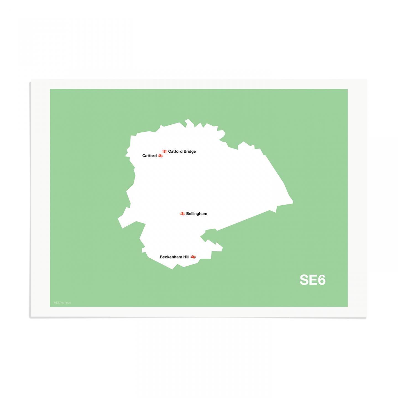 Place in Print MDL Thomson SE6 Postcode Map Green Art Print Unframed