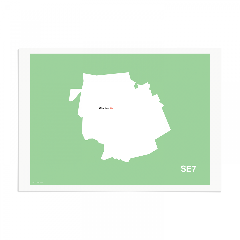 Place in Print MDL Thomson SE7 Postcode Map Green Art Print Unframed