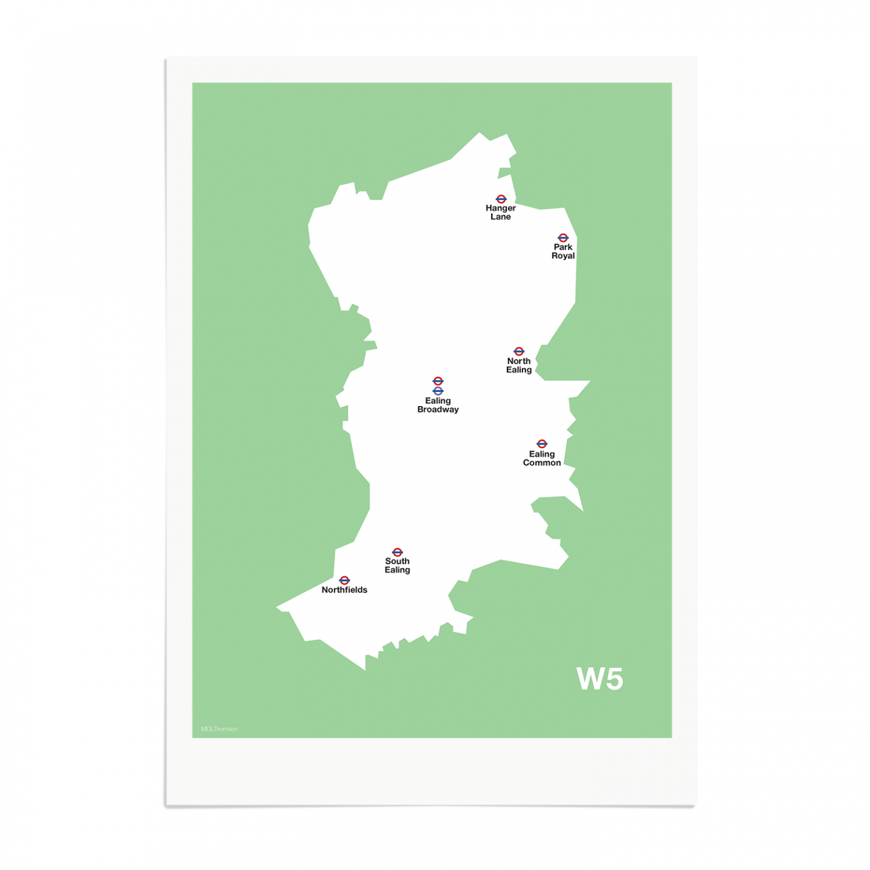 Place in Print MDL Thomson W5 Postcode Map Green Art Print Unframed
