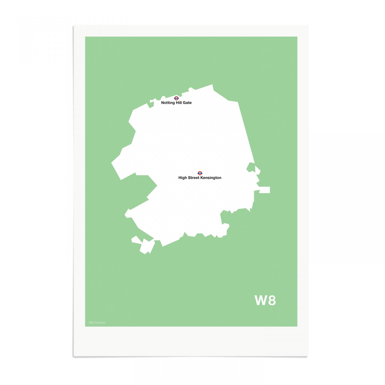 Place in Print MDL Thomson W8 Postcode Map Green Art Print Unframed
